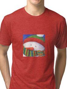 Cute Christmas Snowman with scarf Tri-blend T-Shirt