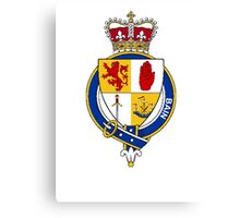 Coat of arms (family crest) for last-name or surname Bain or McBain (Scotland) . Heraldry banner for your name. Canvas Print