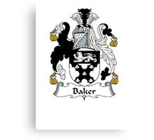 Coat of arms (family crest) for last-name or surname Baker . Heraldry banner for your name. Canvas Print