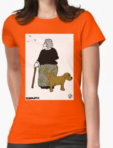 Rex takes a leak. Womens Fitted T-Shirt