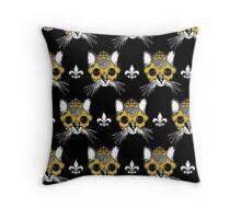 Black and Gold Pardi Animal Pattern Throw Pillow