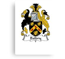 Coat of arms (family crest) for last-name or surname Baldry . Heraldry banner for your name. Canvas Print