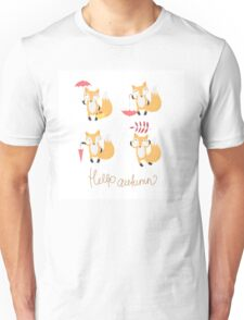 Set with foxes. Unisex T-Shirt