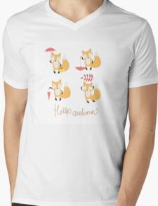 Set with foxes. Mens V-Neck T-Shirt