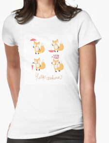 Set with foxes. Womens Fitted T-Shirt