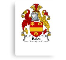Coat of arms (family crest) for last-name or surname Bales . Heraldry banner for your name. Canvas Print