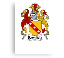Coat of arms (family crest) for last-name or surname Bamfield . Heraldry banner for your name. Canvas Print