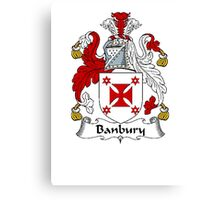 Coat of arms (family crest) for last-name or surname Banbury . Heraldry banner for your name. Canvas Print