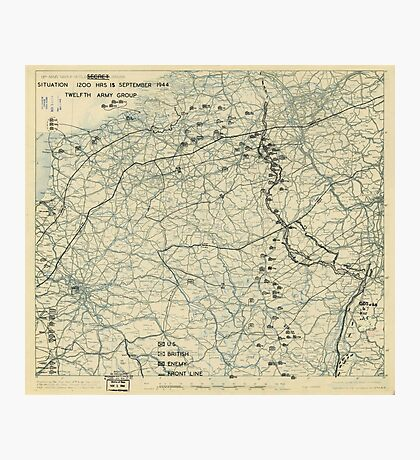 World War II Twelfth Army Group Situation Map September 15 1944 Photographic Print