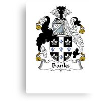 Coat of arms (family crest) for last-name or surname Banks . Heraldry banner for your name. Canvas Print