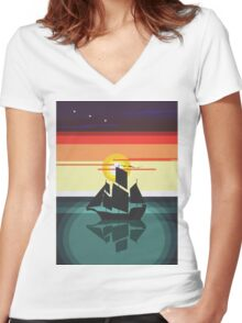 The Black Vector | Pirate Ship Women's Fitted V-Neck T-Shirt