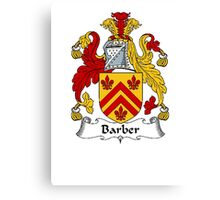 Coat of arms (family crest) for last-name or surname Barber . Heraldry banner for your name. Canvas Print