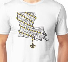 Louisiana State Wrapped in Black And Gold Beads Unisex T-Shirt