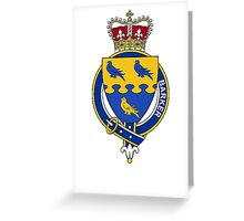 Coat of arms (family crest) for last-name or surname Barker (England) . Heraldry banner for your name. Greeting Card