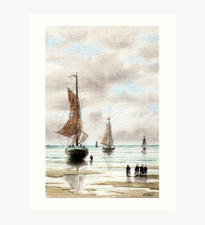 VLAARDINGEN HOLLAND ABOUT 1875 - AQUAREL Art Print