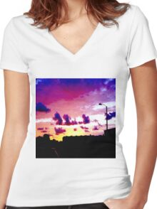 Edge of Car Silo Women's Fitted V-Neck T-Shirt