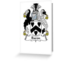 Coat of arms (family crest) for last-name or surname Baron . Heraldry banner for your name. Greeting Card