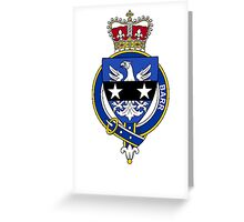 Coat of arms (family crest) for last-name or surname Barr (Scotland) . Heraldry banner for your name. Greeting Card