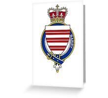 Coat of arms (family crest) for last-name or surname Barry (Ireland) . Heraldry banner for your name. Greeting Card