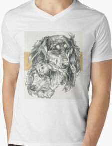 Dachshund, Long-haired, Father & Son Mens V-Neck T-Shirt