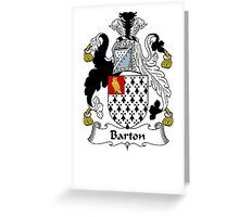 Coat of arms (family crest) for last-name or surname Barton . Heraldry banner for your name. Greeting Card