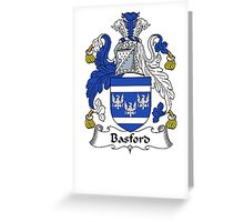 Coat of arms (family crest) for last-name or surname Basford . Heraldry banner for your name. Greeting Card