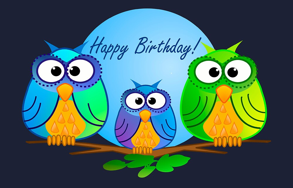 Happy birthday card with owls quot by walstraasart redbubble