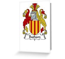Coat of arms (family crest) for last-name or surname Basham . Heraldry banner for your name. Greeting Card
