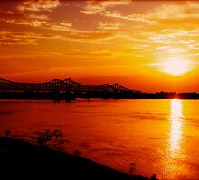 Sunset Over The Miss Lou Bridge by MKBrock