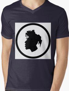 Black Head Logo Mens V-Neck T-Shirt