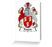 Coat of arms (family crest) for last-name or surname Bassett . Heraldry banner for your name. Greeting Card