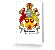 Coat of arms (family crest) for last-name or surname Bateman . Heraldry banner for your name. Greeting Card