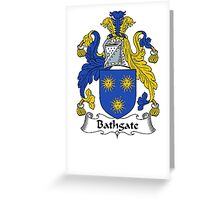Coat of arms (family crest) for last-name or surname Bathgate . Heraldry banner for your name. Greeting Card