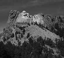 Mount Rushmore in Black and White by Frank Romeo