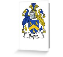 Coat of arms (family crest) for last-name or surname Baxter . Heraldry banner for your name. Greeting Card