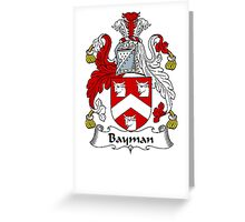 Coat of arms (family crest) for last-name or surname Bayman . Heraldry banner for your name. Greeting Card