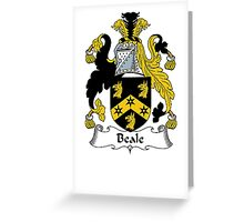 Coat of arms (family crest) for last-name or surname Beale . Heraldry banner for your name. Greeting Card