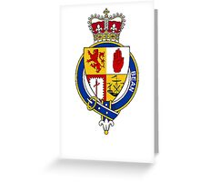 Coat of arms (family crest) for last-name or surname Bean or McBean (Scotland) . Heraldry banner for your name. Greeting Card