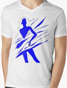 Model of Girl in the blue tones  Mens V-Neck T-Shirt