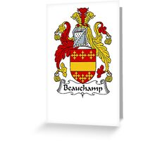 Coat of arms (family crest) for last-name or surname Beauchamp . Heraldry banner for your name. Greeting Card