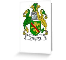 Coat of arms (family crest) for last-name or surname Beaupre . Heraldry banner for your name. Greeting Card