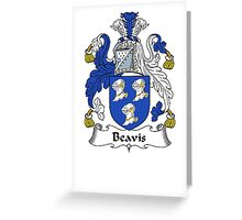 Coat of arms (family crest) for last-name or surname Beavis . Heraldry banner for your name. Greeting Card