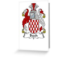 Coat of arms (family crest) for last-name or surname Beche or Beech . Heraldry banner for your name. Greeting Card