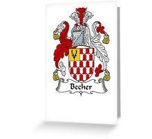 Coat of arms (family crest) for last-name or surname Becher or Beach . Heraldry banner for your name. Greeting Card