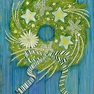 Wreath on a Blue Door by Laura J. Holman