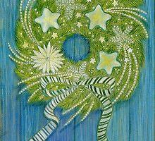 Wreath on a Blue Door by Laura J. Holman
