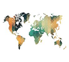 Geometric World Map Art Photographic Print