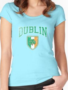 Dublin, Ireland with Shamrock Women's Fitted Scoop T-Shirt
