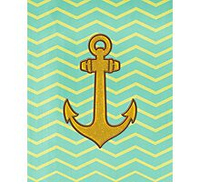 Gold Anchor with Chevron Photographic Print