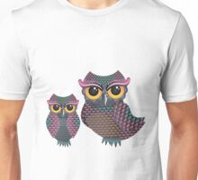 Pink and Blue Color Owl Unisex T-Shirt